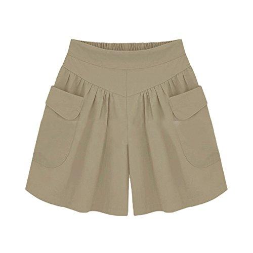 Pantalones Cortos para Mujer Deportivos de Pierna Ancha de Color Liso para Mujeres en Tallas Grandes Pantalones Deportivos Cortos de Verano Informales,Pantalones Cortos de Verano y Playa