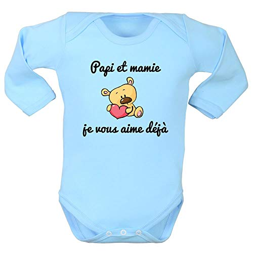 Body Manches Longues, Bodies bébé, brassière Enfant, Papi, Mamie, Amour, Message, fête des Grands-mères, Cadeau - Bleu Clair, 6/12 Mois