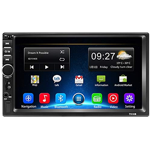 Autoradio Double Din Android 9.1 Car Stereo 2 Din 7' Touch Screen Bluetooth 1080P Quad Core 2G + 32GB Player Supporto GPS Navigation WC WiFi AUX TF USB Mirror link FM Video