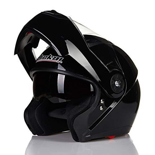 Casque de moto plein air quatre saisons casque unisexe double lentille (Couleur : NOIR-L XL)