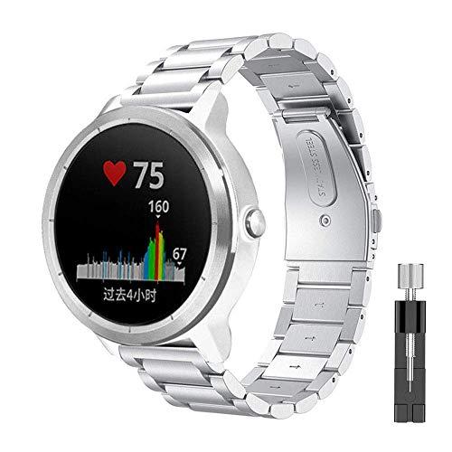 METEQI Correa Compatibles con Garmin Vivoactive 3, 20mm Banda de Reloj de Acero Inoxidable Vivoactive 3/Garmin Forerunner 645 Music/Samsung Galaxy 42mm (Plata)
