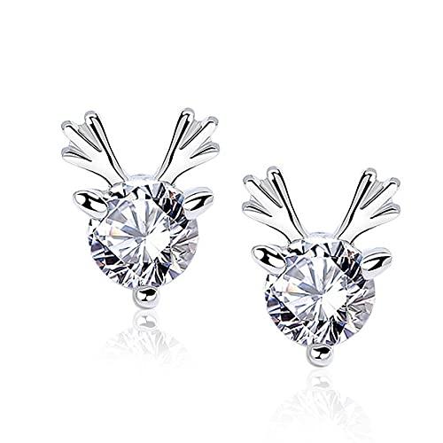 Pendientes de plata de ley S925 con diseño de ciervo, diseño de Moissan con diamantes, regalos para cumpleaños, Navidad, aniversario de boda, día de San Valentín