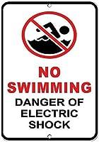 電気ショック式危険標識スズメタルサインの遊泳危険