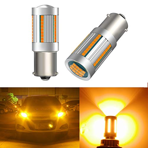 Newest PY21W BAU15S LED Car Bulbs, Amber Yellow 25W 12496 7507 PY21W BAU15S LED 2641A Bulbs for Turn Signal Lights with Build-in Load Resistor Anti Hyper Flash for Blinker Bulb (Pack of 2)