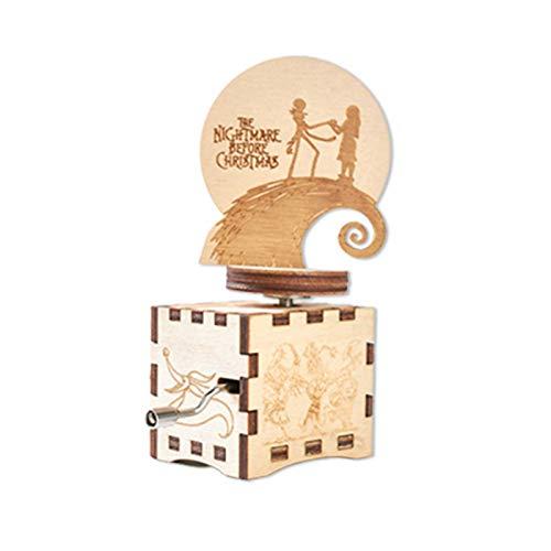 Stronrive Nightmare Before Christmas Caja De Música De Madera Caja De Música con Manivela De Madera Tallada, Pesadilla Antes De Navidad Decoraciones/Regalos