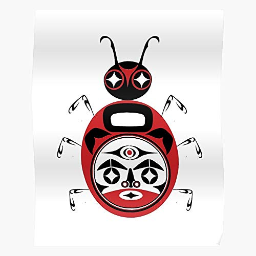 Northwest Haida Ladybug Bug Alaska Tribal Pacific Tlingit Vancouver Seattle Lady Regalo para la decoración del hogar Wall Art Print Poster 11.7 x 16.5 inch