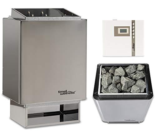 Sauna-Set Saunaofen EOS 34.A mit Saunasteuerung und Saunasteine time4wellness (9 kW, Saunasteuerung...