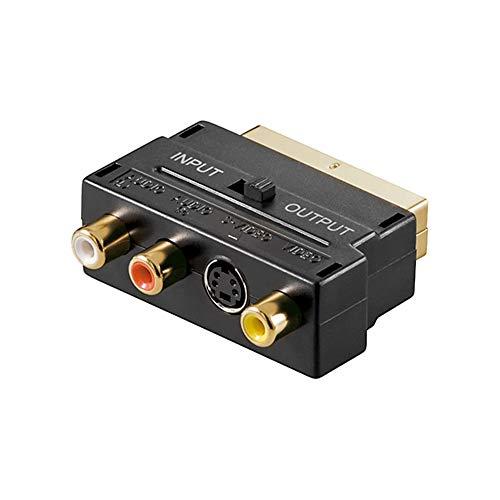 Goobay 50499 Scart Cinch Adapter, Audio / Video, vergoldete Kontakte, Scartstecker (21-Pin) > 3x Cinch-Buchse + Mini-DIN 4-Buchse (S-Video)