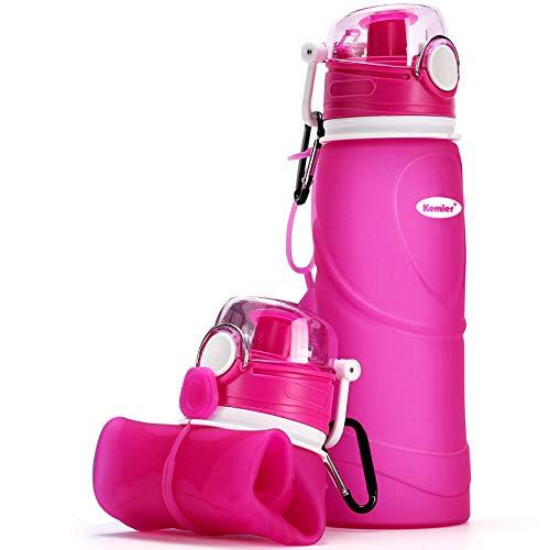 Kemier Botellas de Agua de Silicona Plegables–750ML,Calidad Médica Libre de BPA,Aprobado por FDA.Enrollarse,Botellas de Agua Plegables a Prueba de Fugas para el Aire Libre y Deportes (Rosa)