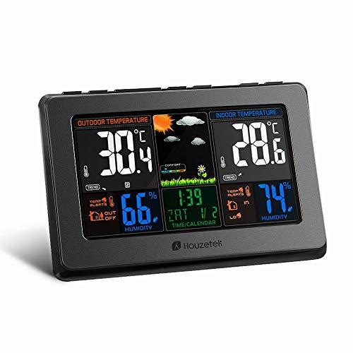 Weather Station,Houzetek Wireless Atomic Digital Color Forecast Station,Indoor/Outdoor Temperature Humidity Monitor,Alarm Clock,Weather Forecast,Alarm with USB Charging Port-Black