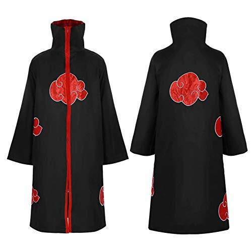 iEFiEL Unisex Damen Herren Kostüm Manga Japanische Ninja Anime Mantel Umhang Halloween Vampire Kostüm Schwarz Large