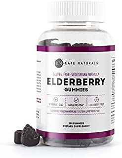 Elderberry Gummies for Adults & Kids (90 Gummies) - Kate Naturals. Perfect for Immune System Support & Metabolism. Has Vitamin C and Zinc. 1-Year Guarantee. Sambucus Nigra. Tasty Vitamin Alternative