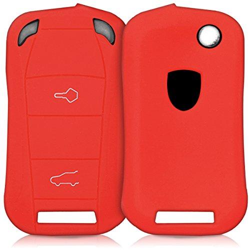 kwmobile Accessoire clé de Voiture Compatible avec Porsche (Keyless Uniquement) 2-Bouton - Coque en Silicone Souple pour Clef de Voiture Rouge