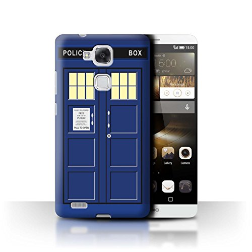Hülle Für Huawei Ascend Mate7 Tardis Handyzelle Kunst Blau Design Transparent Ultra Dünn Klar Hart Schutz Handyhülle Hülle