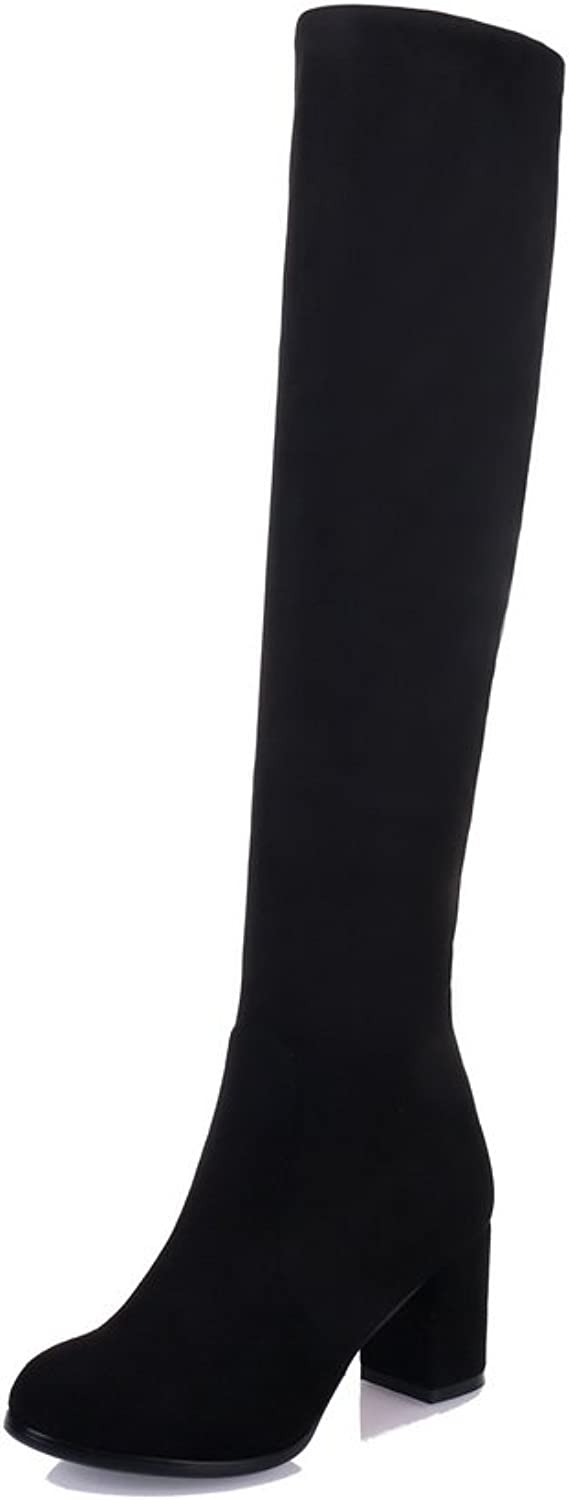 BalaMasa Womens Solid Knee-High Pull-On Non-Marking Black Suede Boots ABL10517-8 B(M) US