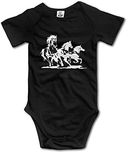 WlQshop Body Bébé Garçon Fille, Three White Horses Running Newborn Baby Boys Clothing Short Sleeve Gentleman Bodysuit