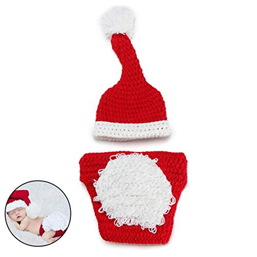 Bontand Baby-Fotografie Props Weihnachten Outfits Neugeborene Jungen-mädchen-fotoaufnahme Kostüm Crochet Gestrickte Weihnachtsmütze Shorts Rot