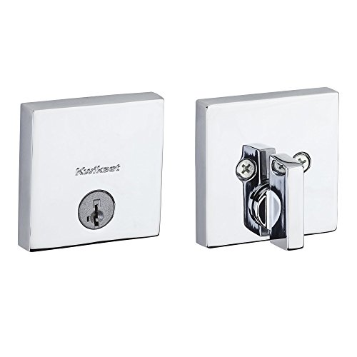 Kwikset 92580-004 258 Downtown Low Profile Slim Square Modern Contemporary Single Cylinder Deadbolt Door Lock featuring SmartKey Security in Polished Chrome