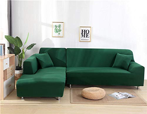 HXTSWGS Fundas Estilo Jacquard para sofá,Funda de sofá elástica, Funda de sofá de Sala de Estar, Funda de Asiento de sofá, Funda de sofá de Esquina, Funda Protectora de Muebles-Verde Oscuro_190-230cm