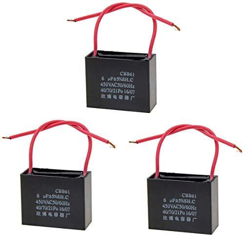 6uF Condensador de ventilador de techo, 3 piezas 2 hilos AC 450V 50 / 60HZ Motor en funcionamiento eléctrico Arranque CBB61 SH Negro