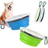 Pawaboo [2PZS Cuencos de Viaje de Silicona con Tapas y Mosquetones para Perros Gatos, Alimentador de Agua Plegable Portátil, Tazones para Perros de Uso Doméstico para Caminar - Azul + Verde