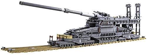 Brigamo Bausteine Zug WW2 Eisenbahngeschütz Schwerer Gustav , 3834 Klemmbausteine, 113 cm lang