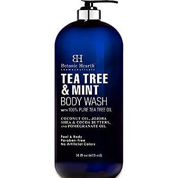 BOTANIC HEARTH Tea Tree Oil Body Wash with Mint - Paraben Free Helps Fight Body Odor AthleteÍs Foot Jock Itch Skin Irritations - Shower Gel Soap - Women & Men -  Packaging May Vary  16 fl oz