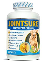 🐶 JOINT SUPPLEMENTS FOR DOGS - Our Dog Joint Supplement tablets contain 7 Active Ingredients: Green Lipped Mussel, Glucosamine, Natural Chondroitin, Vitamins C and E, Manganese and Hyaluronic Acid. Formulated to soothe stiffness while supporting and ...