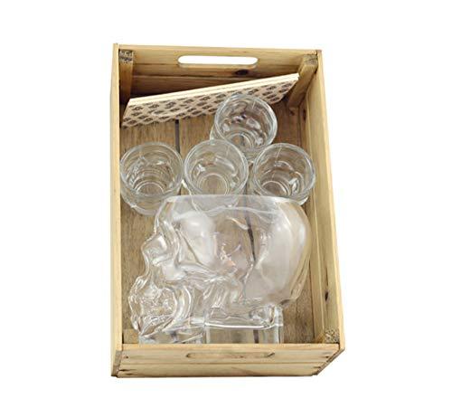 Hostelnovo - Innovador Pack Calavera : Caja en Madera + 1 Vaso Tiki de 600 ml en Forma de Calavera + 4 chupitos Calavera 50 ml + 2 Porta chupitos Estampado