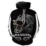 COZY LS Unisex con Capucha Suéter - Los Aficionados De La NFL Oakland Raiders 3D Camiseta De Rugby Uniforme Primavera con Capucha Suéter De Béisbol con Bolsillo - Adolescentes Regalo Black-M