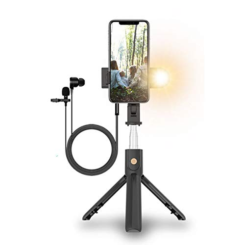 Live Streaming Selfie Stick Vlogging Kit with Microphone and Light, YouTube Video Recording Equipment, Mobile Phone Live Stream Tripod for Facebook Instagram TikTok On The Go
