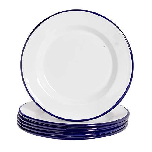 Argon Tableware Juego de Platos Llanos - Esmalte Blanco Tradicional y Borde Azul - 219mm - Pack de 6