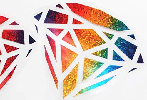 Bügelbilder 2er-Set, Motiv: Diamanten, Größe: je 10,5x8,5cm, Farbe: regenbogen, Material: heißsiegelfähige Flexfolie