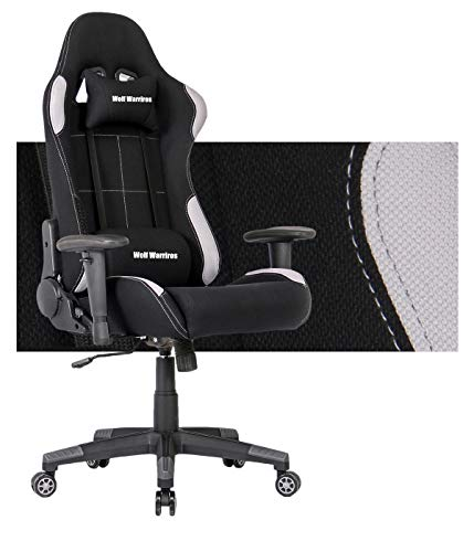 Gaming Chair Ergonomic Computer Game Chair Seat Height Adjustment Recliner Swivel Rocker E-Sports Office Chair with Headrest and Lumbar Pillow (Fabric, Grey/Black Without Footrest) chair footrest gaming