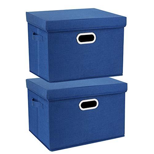 TYEERS 2 Paquetes Caja de Almacenamiento con Tapa y Asa, Cestas de Almacenaje Plegables de Ropa de Algodón Lino, Organizadores de Almacenamiento de Juguetes, Estantes, Ropa y Libros, etc. - Azul