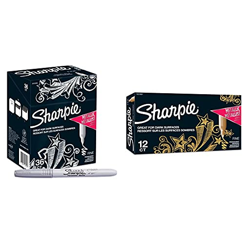 Sharpie 30072 Fine Point Permanent Marker, Assorted Colors; Quick-drying Ink, Water and Fading Resist, AP Certified, 1 Pack of 12 Markers & Metallic Permanent Markers, Fine Point, Gold, 12 Count