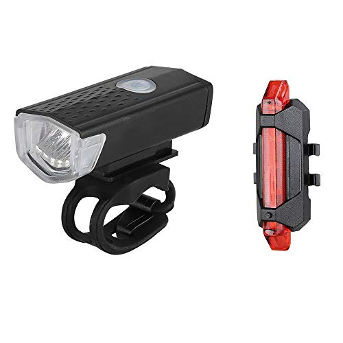 Cofemy USB Rechargeable Bike Light Set, Runtime 8+ Hours 400 Lumen Super Bright Headlight Front Lights and Back Rear LED,4 Light Mode Fits All Bicycles, Mountain,Road