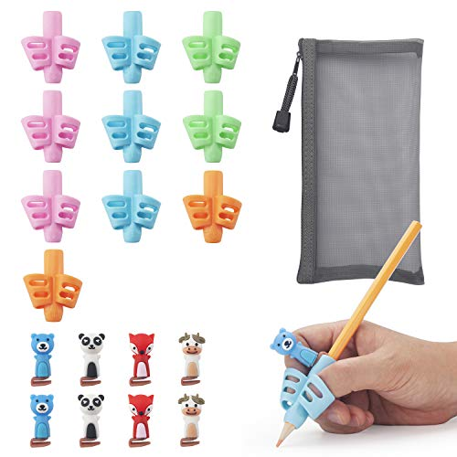 Pencil Grips for Kids Handwriting, 19 PCS (10 Pencil Grips+ 8 Clips+ 1 Pencil Bag), Kids Pencils Grip, School Supplies, Pencil Holder for Kids, Comfortable Writing Training Aid Grip for Kids.