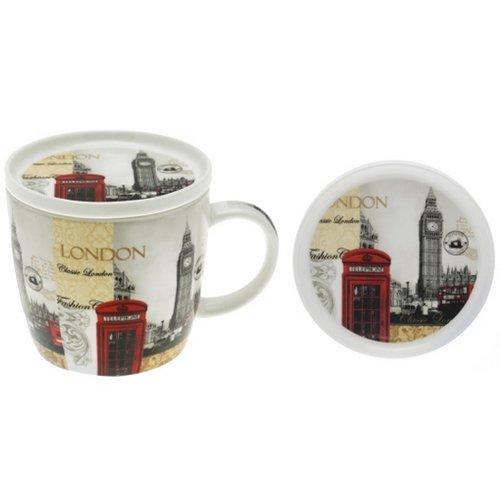 London Mug Coaster Set Coffee Tea with LID FINE China...