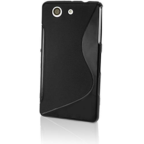 igadgitz U3270 Custodia TPU S Line per Sony Xperia Z3 Compact D5803 Case Cover con Pellicola - Nero