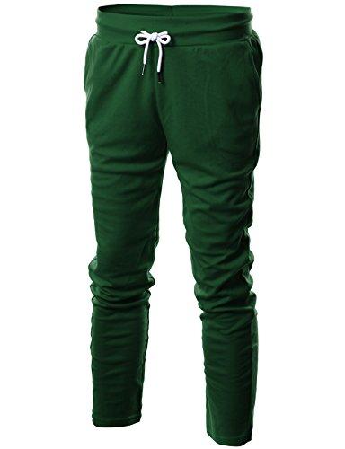 Ohoo Mens Slim Fit Lightweight Training Active Sweatpant/DCA001-GREEN-XL