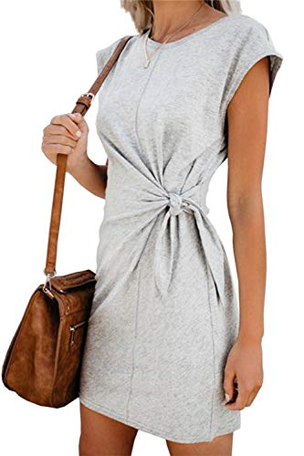 Sommerkleid Damen Elegant Casual Kurzarm Einfarbig Rundhals Party Kurze Kleider Strandkleid Minikleider (328-Gray, S)