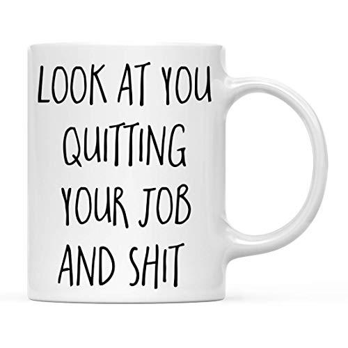 N\A Regalo Divertido de la Taza de café, mírate dejando tu Trabajo y Mierda, Paquete de 1, Incluye Caja de Regalo, Ideas de Regalo para él, su compañero de Trabajo, Jefe