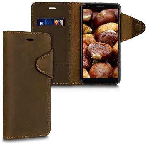 kalibri Wallet Hülle kompatibel mit Google Pixel 3a - Hülle Leder - Handy Cover Handyhülle in Braun