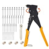 XINQIAO Rivet Gun Kit with 100 Pcs Rivets, 360° Swivel Head Hand Riveter Set for Metal with 4 Tool-Free Interchangeable Heads
