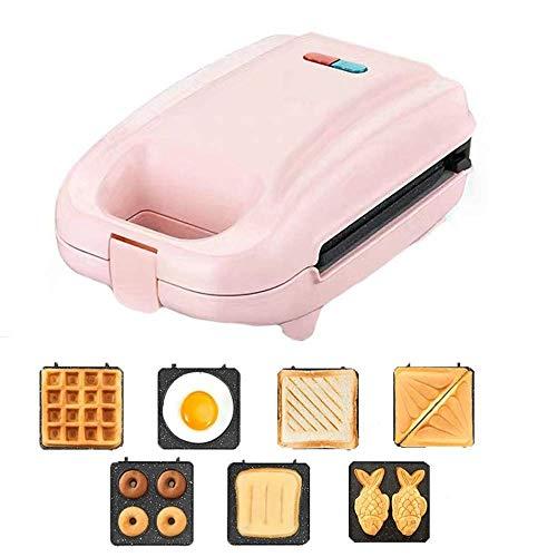 JIEJIE Professionelles Sandwich Maker, Press, Antihaftbeschichtung, 650 W, Geeignet for Frühstück, Nachmittagstee, mit 7 Non Stick Halteerungen (Farbe: Pink) (Farbe: rot) QIANGQIANG (Color : Red)