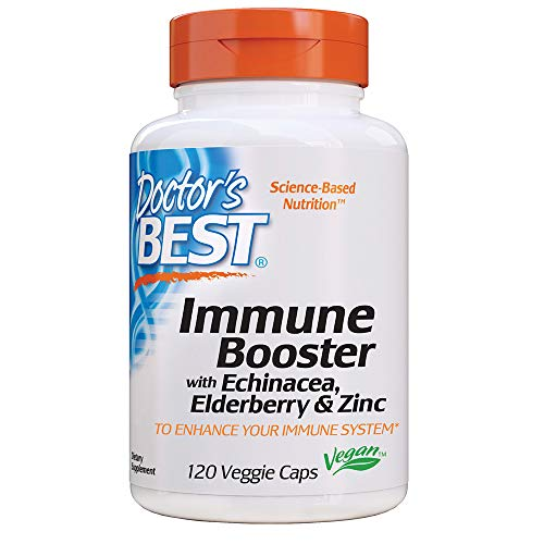 Doctor's Best Immune Booster with Echinacea, Elderberry & Zinc for Immune System Support, Antioxidant Support, 120 Count