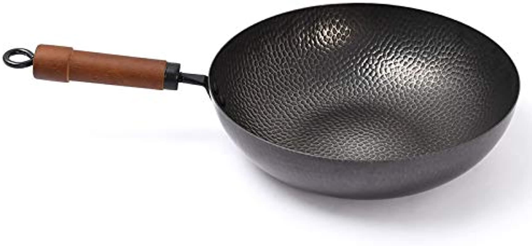 12inch High Purity Iron Hand Forged Wok Uncoated Iron Wok Flat Bottom Pan Household Kitchen Cookware With Log Lid No Fumes Non Stick Pan