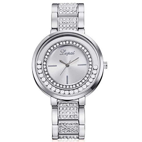 WSSVAN Bola de Diamante para Mujer Aleación Creativa Reloj de Cuarzo Reloj para Mujer Moda Diamante Completo Cristal de Cuarzo para Mujer Halo móvil Mujer Reloj de Regalo (Plata)