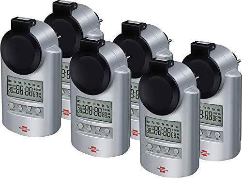Brennenstuhl Primera-Line Zeitschaltuhr DT IP44, digitale Timer-Steckdose (Wochen-Zeitschaltuhr, IP44 Schutz & Kindersicherung) Farbe: silber (6er Pack)